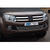 Накладки на передний бампер (нерж., 3 шт.) для Volkswagen Amarok 2010+ (Omsa Prime, 7535083)