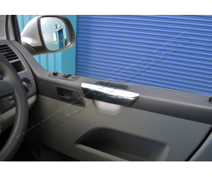 Накладки на дверные подлокотники (нерж., 2 шт.) для Volkswagen Transporter (T5) 2003-2010 (Omsa Prime, 7522031)
