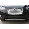 Накладка на передний бампер Hyundai Santa Fe 2010+ (PRC, DS-B-121)