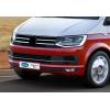 Накладки на передний бампер (нерж., 3 шт.) для Volkswagen Transporter (T6) 2015+ (Omsa Prime, 7550084)