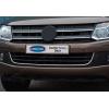 Накладка на передний бампер (нерж., U-type) для Volkswagen Amarok 2010+ (Omsa Prime, 7535085)