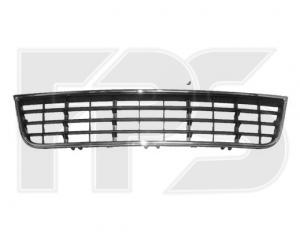 Решетка в бампер (средняя, с хром молдингом) для Audi A6 2001-2005 (Avtm, 14227)