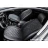 Чехлы в салон (Эко-кожа, ромб/черные) для Nissan Qashqai 2007-2013 (Seintex, 88911)