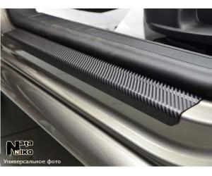 Накладки на пороги (карбон, 4 шт.) для Peugeot 5008 II 2016+ (Nata-Niko, PK-PE33)