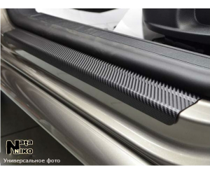 Накладки на пороги (карбон, 2 шт.) для Jeep Wrangler Iv (Jl) 3D/5D 2017+ (Nata-Niko, PK-JE08)
